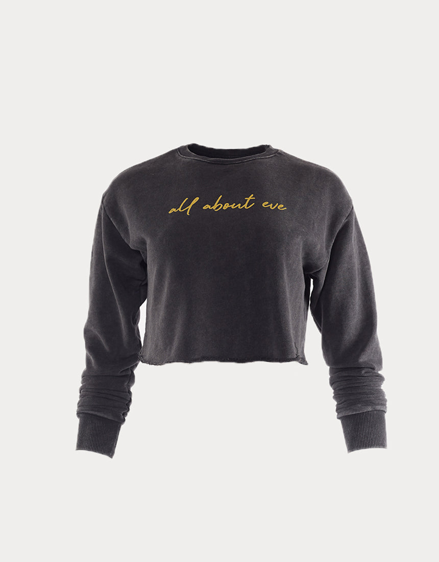 All About Eve Clothing SCRIPT WASHED CREW - WASHED BLACK