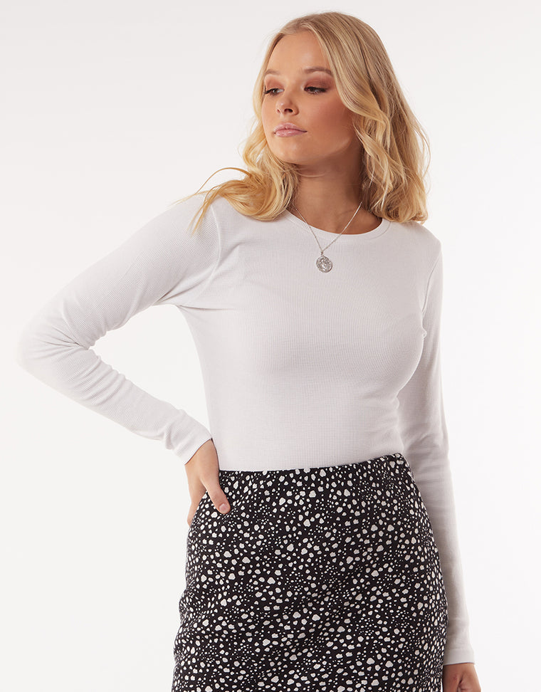 WAFFLE LONG SLEEVE TOP - WHITE