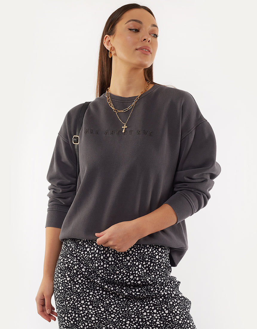 All About Eve Clothing EVE WASHED SWEATER - WASHED BLACK