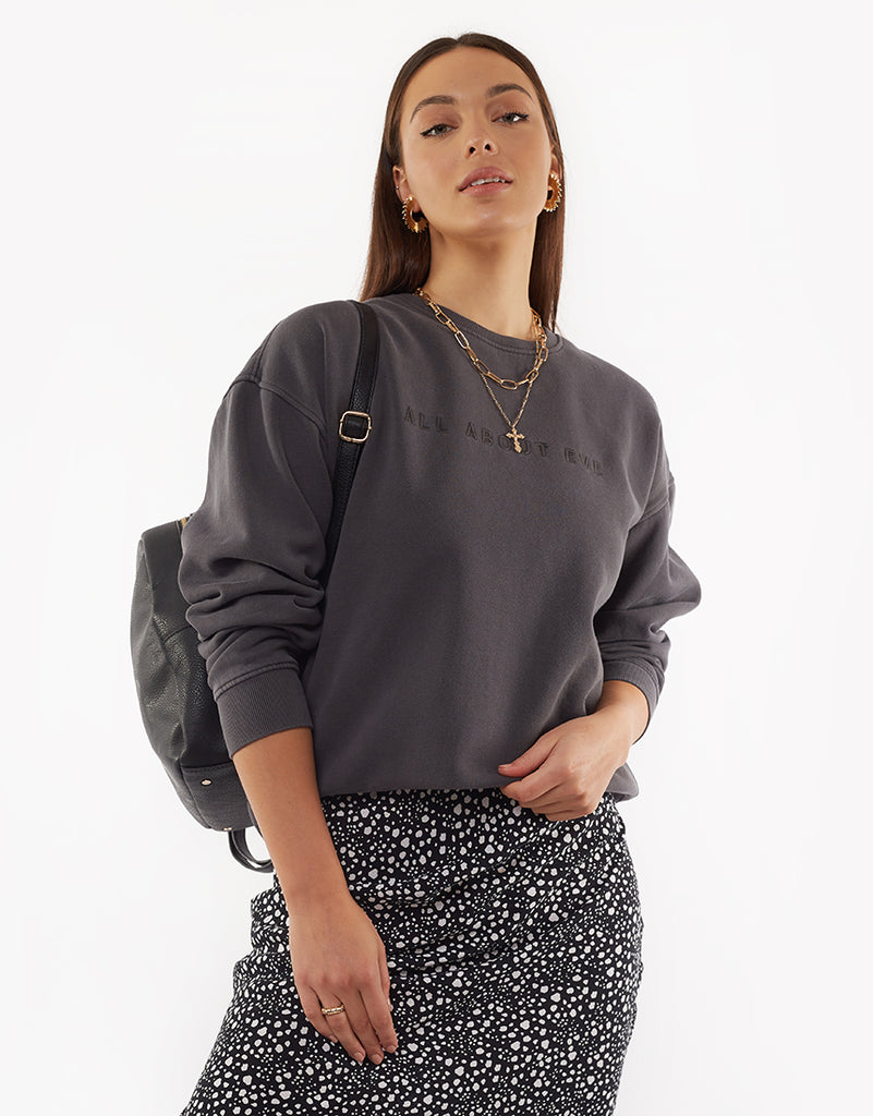 EVE WASHED SWEATER - WASHED BLACK