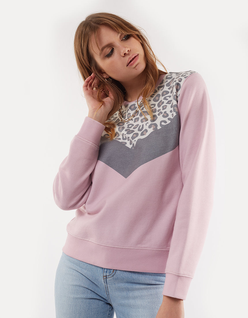 All About Eve Clothing CHEETAH CHEVRON CREW - MULTICOLOURED