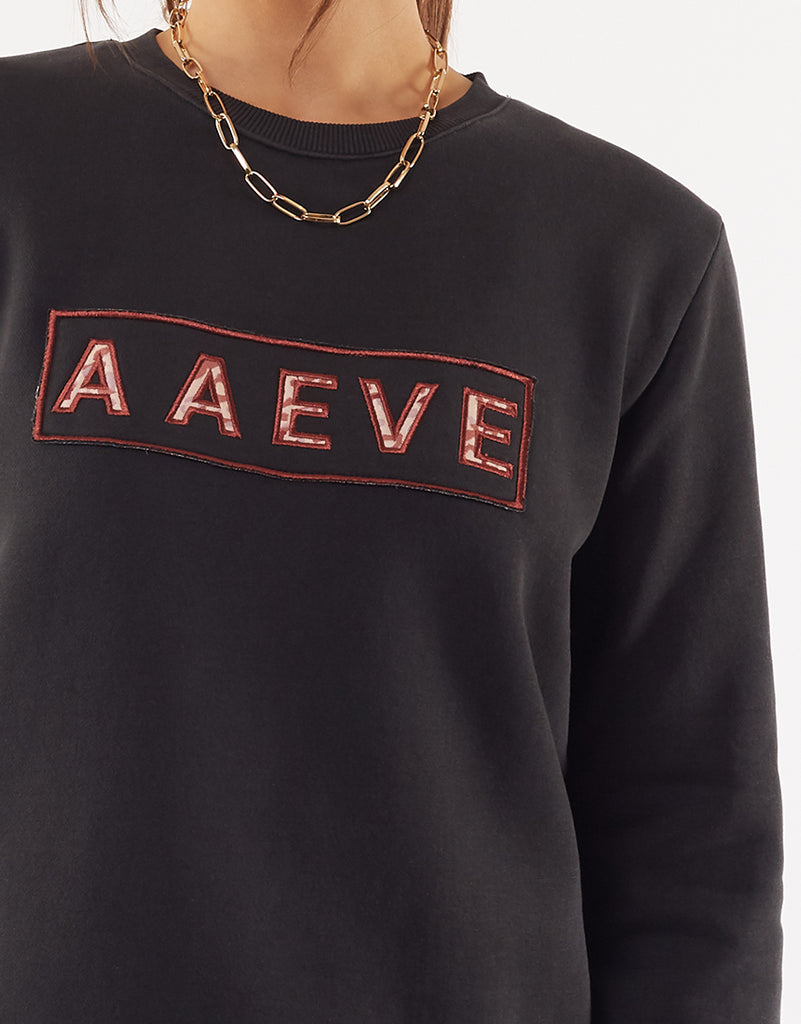 A.a.eve Leopard Crew Washed Black