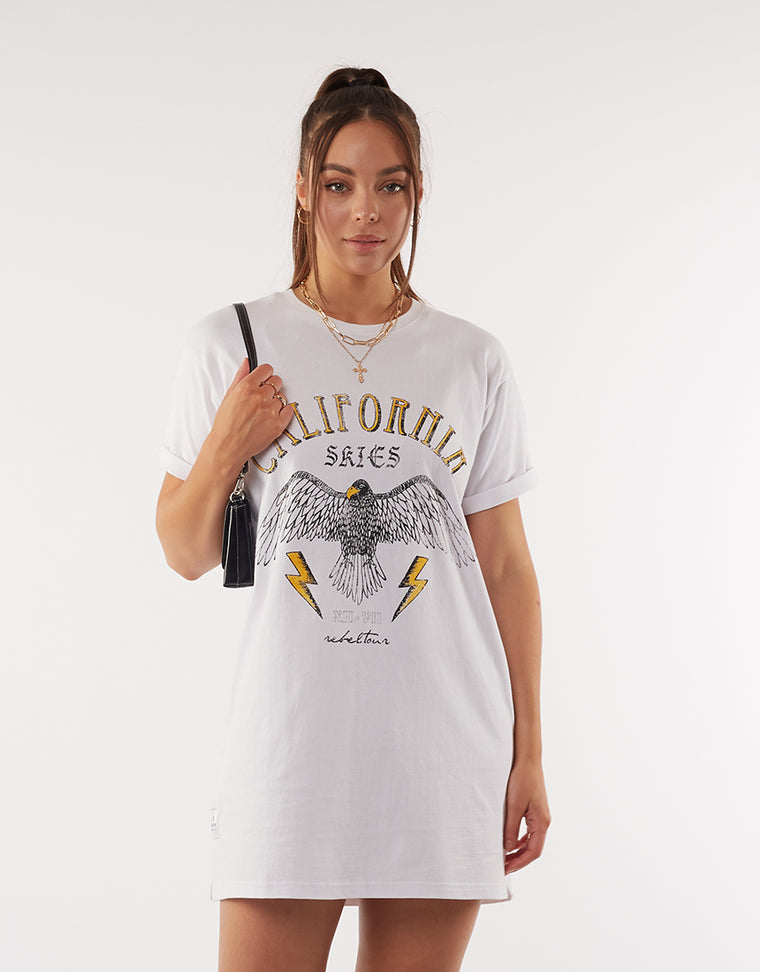 California Tee Dress White
