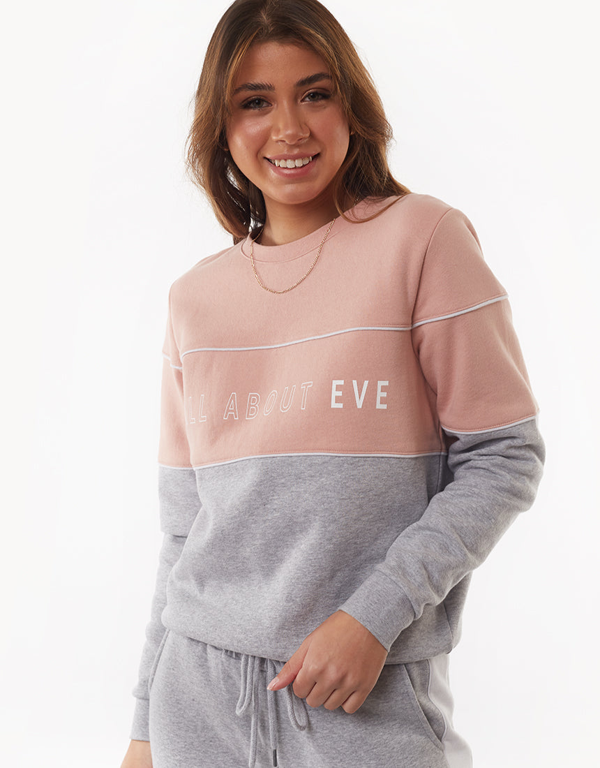 All About Eve Clothing FRONTED CREW - GREY MARL