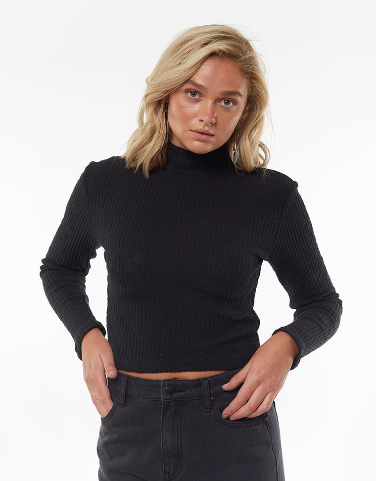 DREW LONG SLEEVE TOP - BLACK