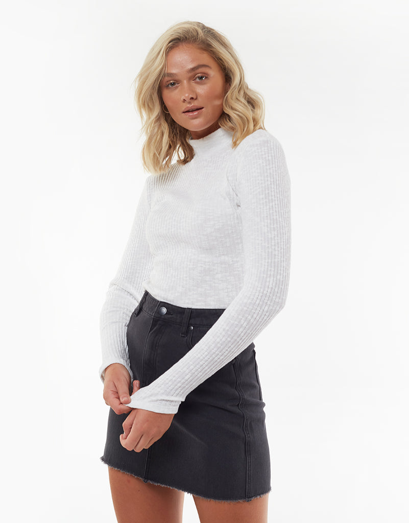 DREW LONG SLEEVE TOP - WHITE