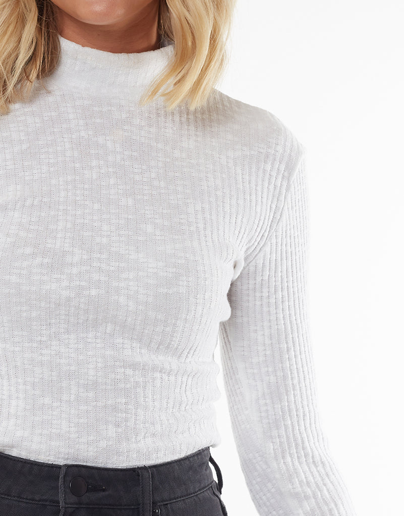Drew Long Sleeve Top White