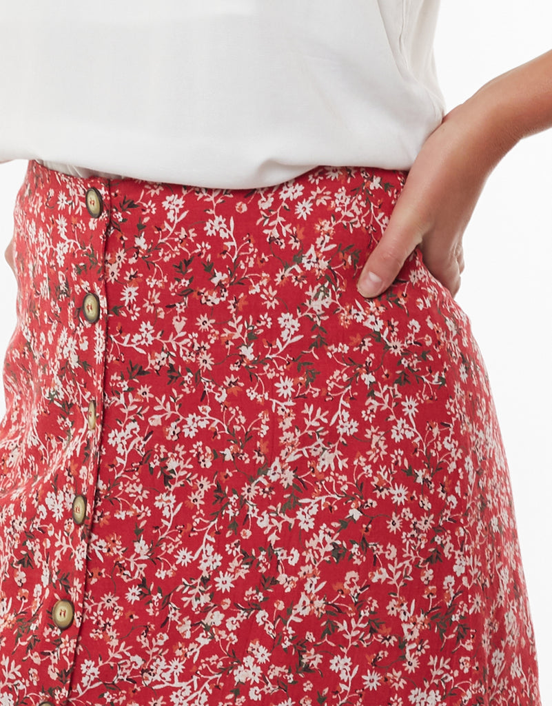 HAND PAINTED FLORAL SKIRT - PRINT