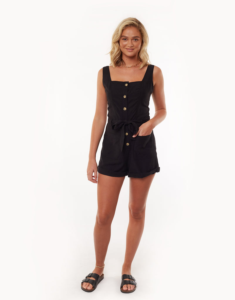 UTILITY PLAYSUIT - BLACK