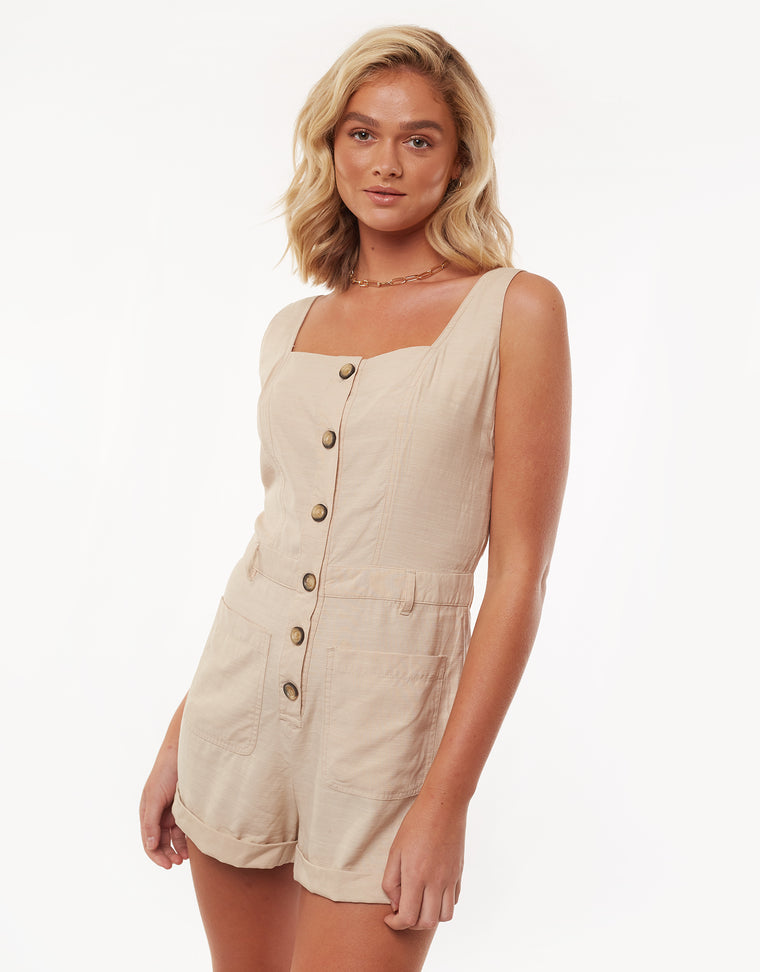 Utility Playsuit Nude