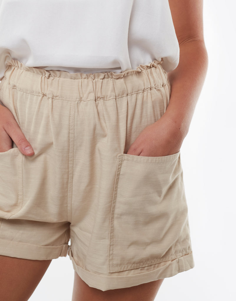 UTILITY PAPERBAG SHORTS - NUDE