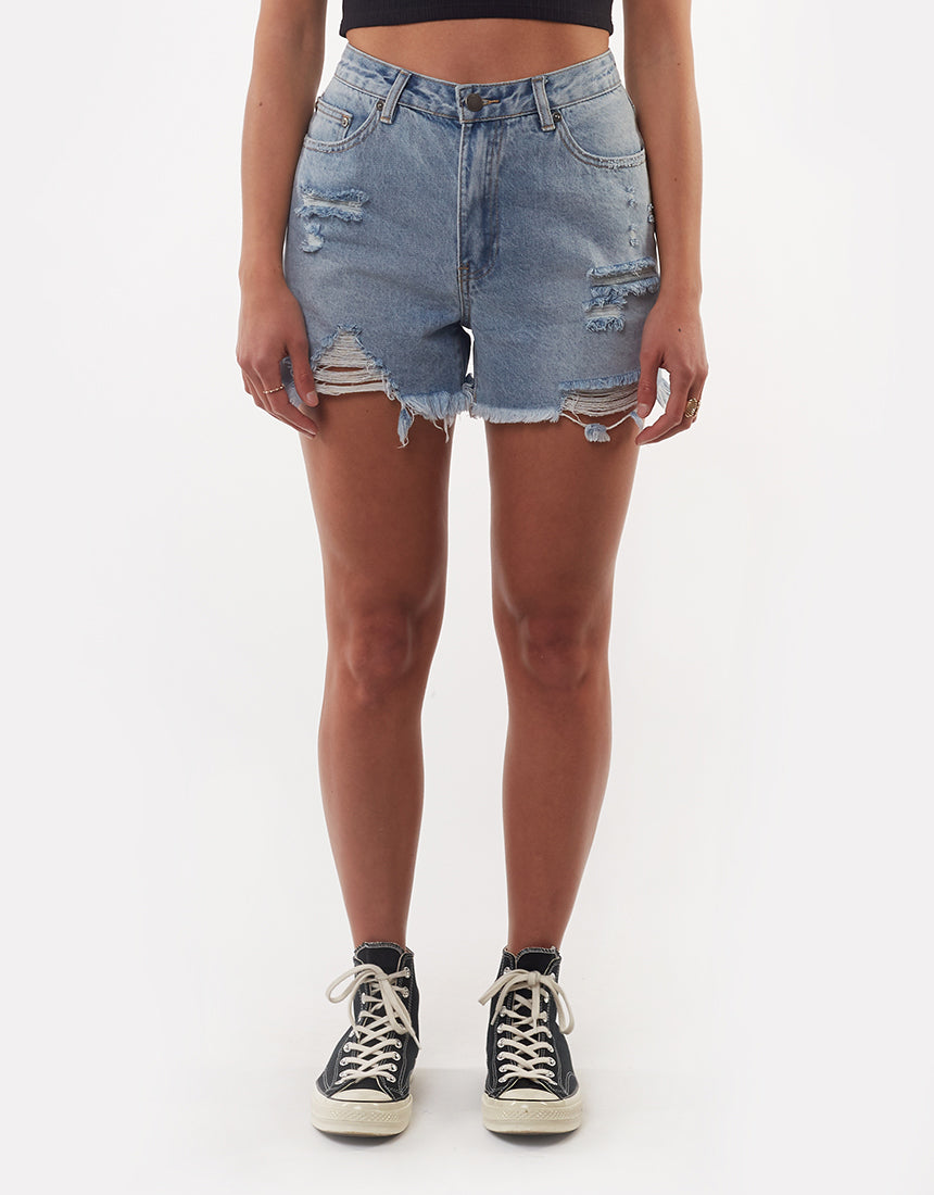 All About Eve Clothing QUINN DENIM SHORT - SKY BLUE
