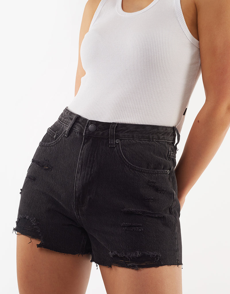 Quinn Denim Short Washed Black