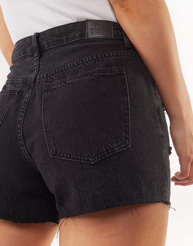 QUINN DENIM SHORT - WASHED BLACK