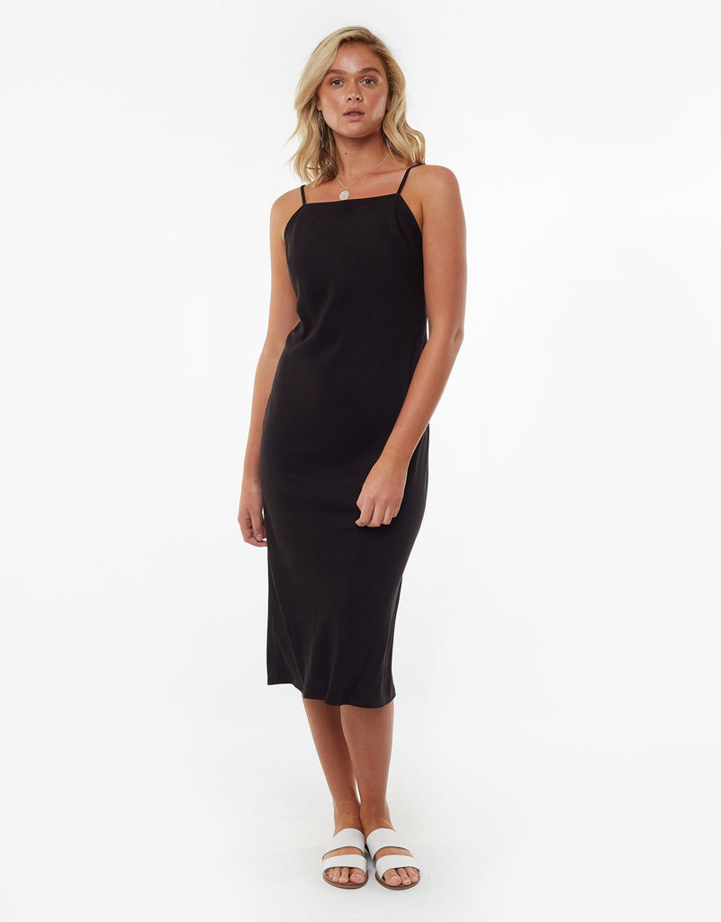 BILLI MIDI SLIP DRESS - BLACK