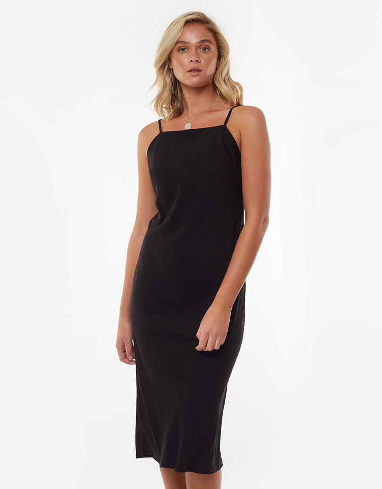 Billie Midi Slip Dress Black