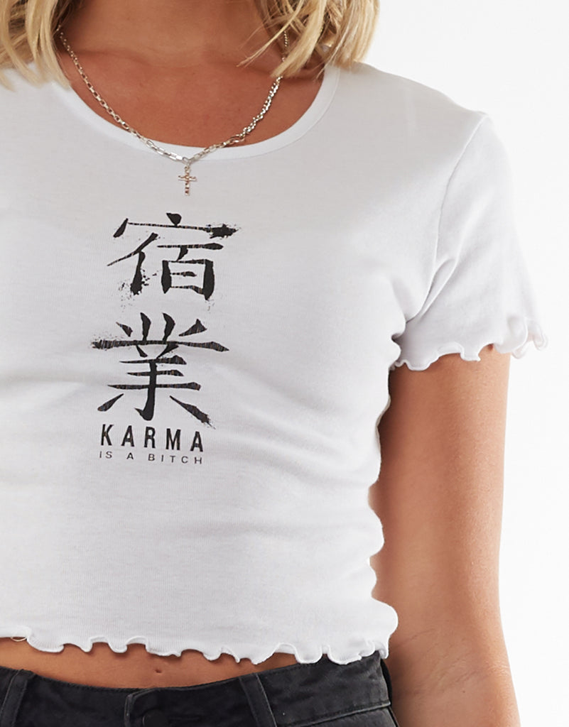 Karma Crop Tee White