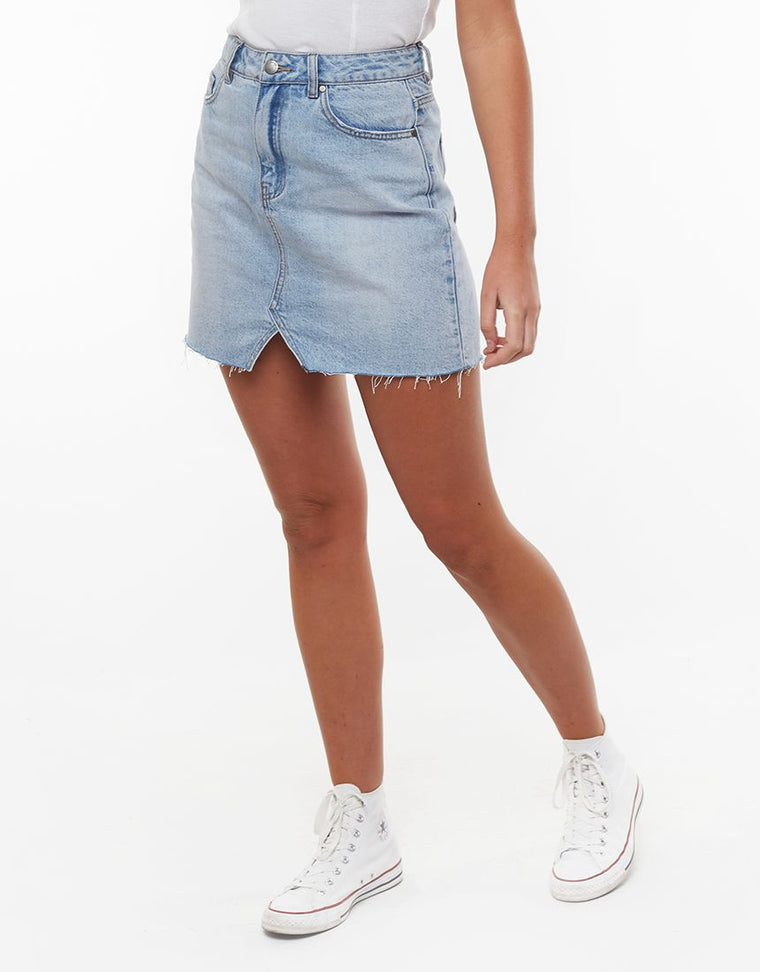 SHEA SPLIT DENIM SKIRT - DENIM