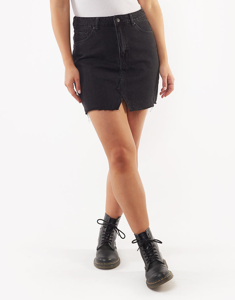 SHEA SPLIT DENIM SKIRT - WASHED BLACK