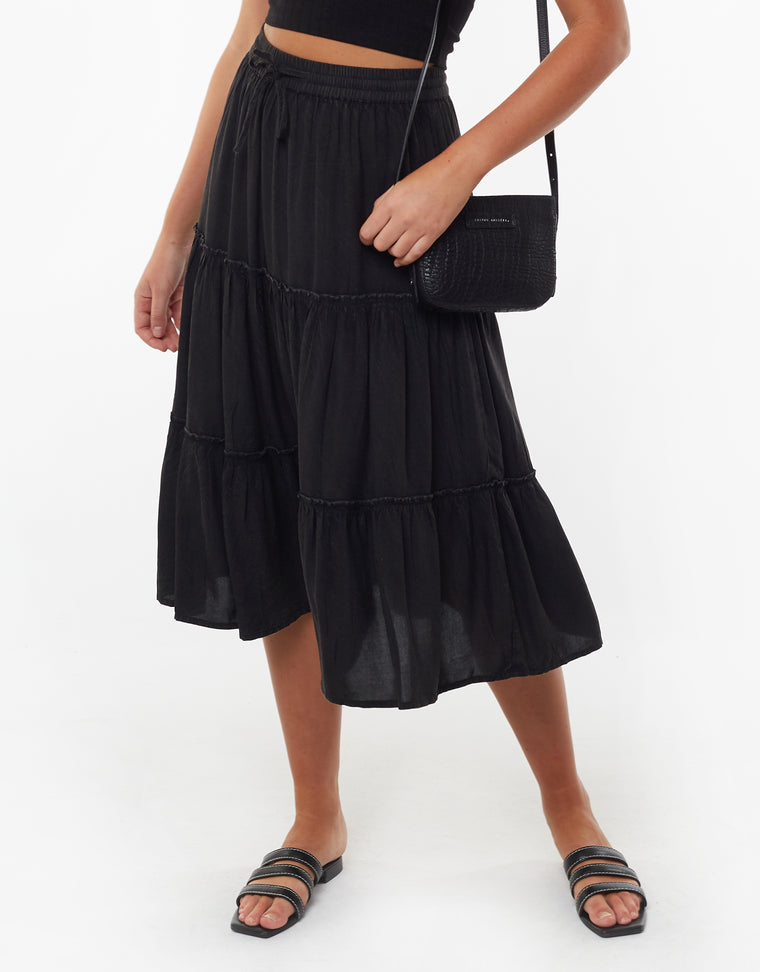 CLAUDIA MIDI TIERED SKIRT - BLACK