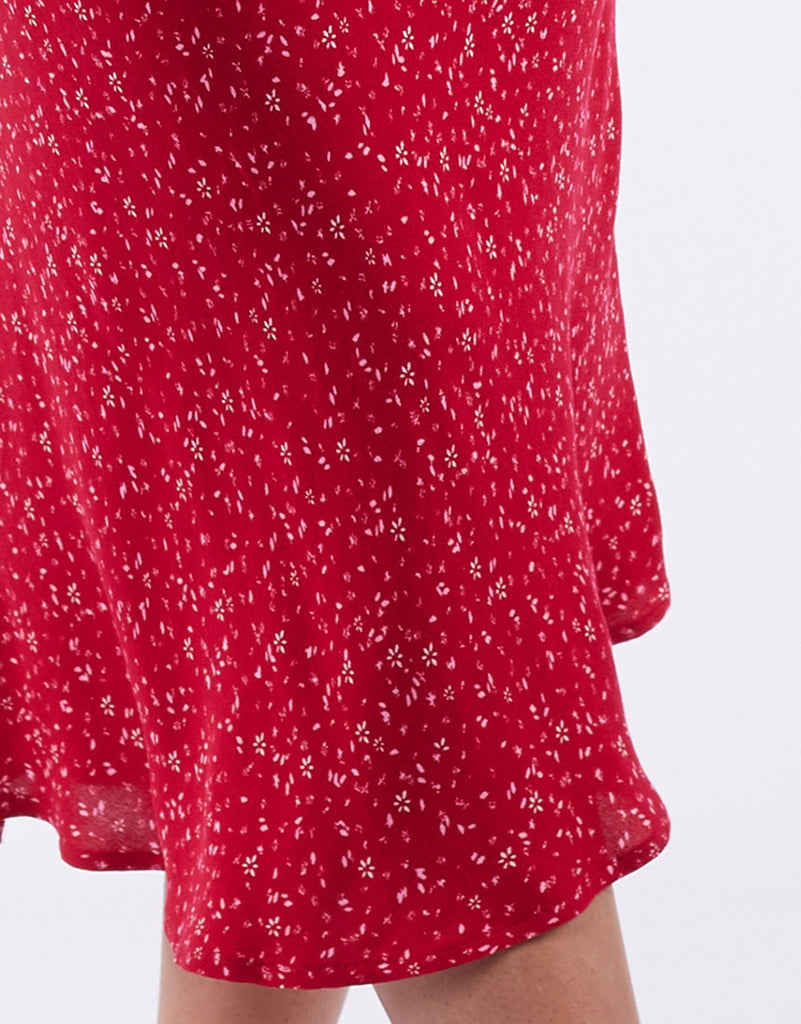 Flourishing Midi Skirt Red Ditsy Floral