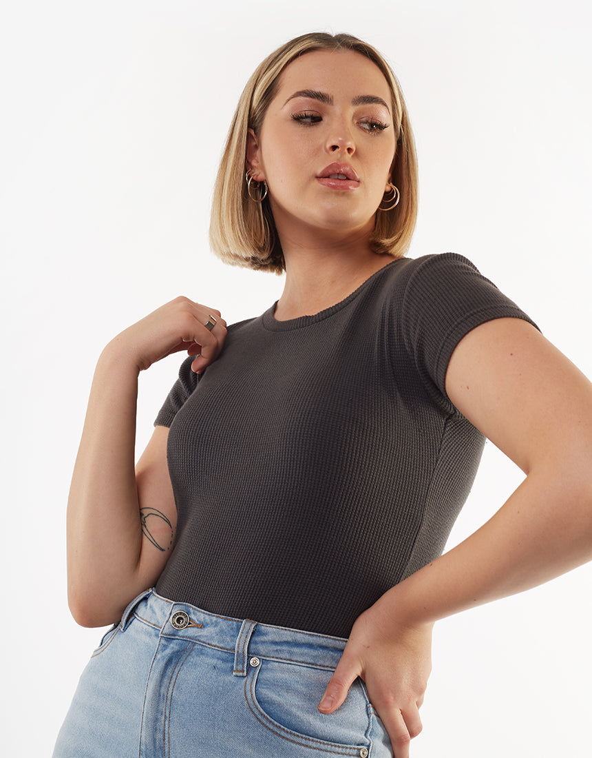 All About Eve Clothing MIRANDA WAFFLE TEE - BLACK
