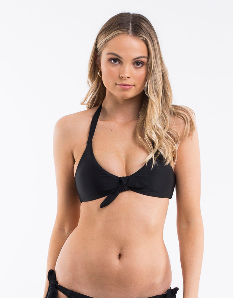 Evie Knot Front Top Black