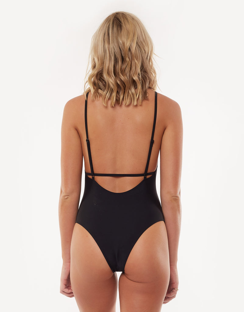 Eve Straight Neck One Piece Black