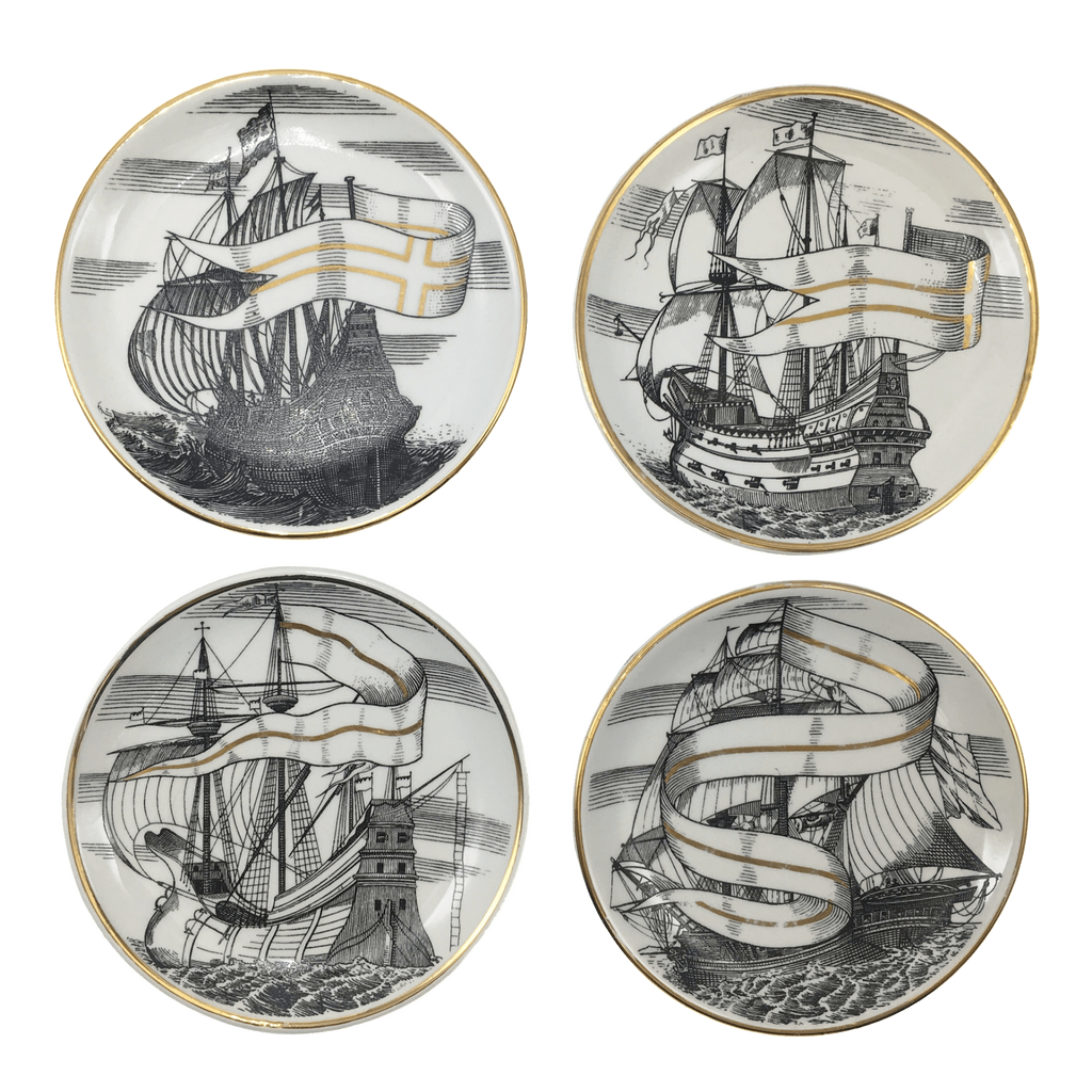 "Velieri ""Tall Ship"" Coasters by Piero Fornasetti"