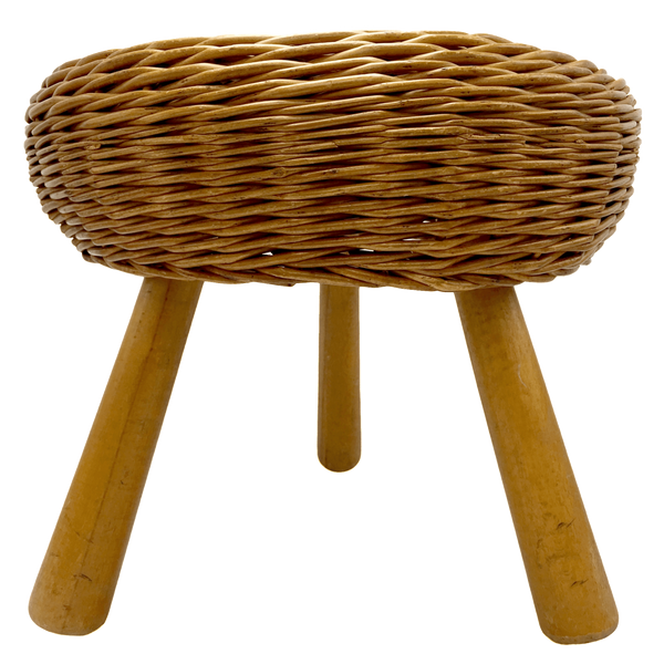 Wicker Tripod Stool Attributed to Tony Paul