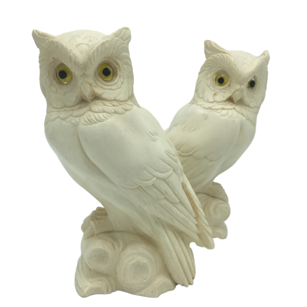 Alabaster Owl Bookends by Arnaldo Giannelli
