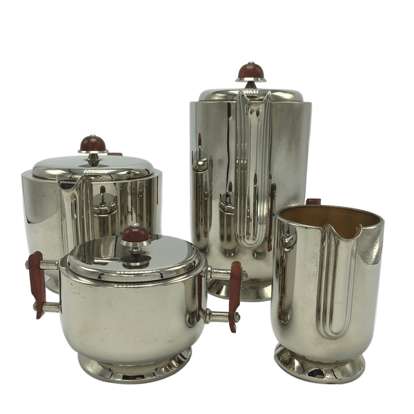 Antique Silver-Plated Art Deco Tea & Coffee Service