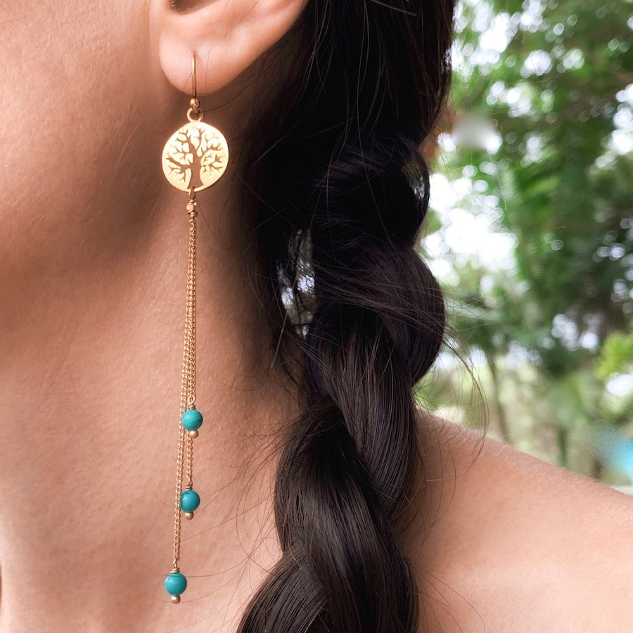 Tree of life Earrings brass chain & Turquoise
