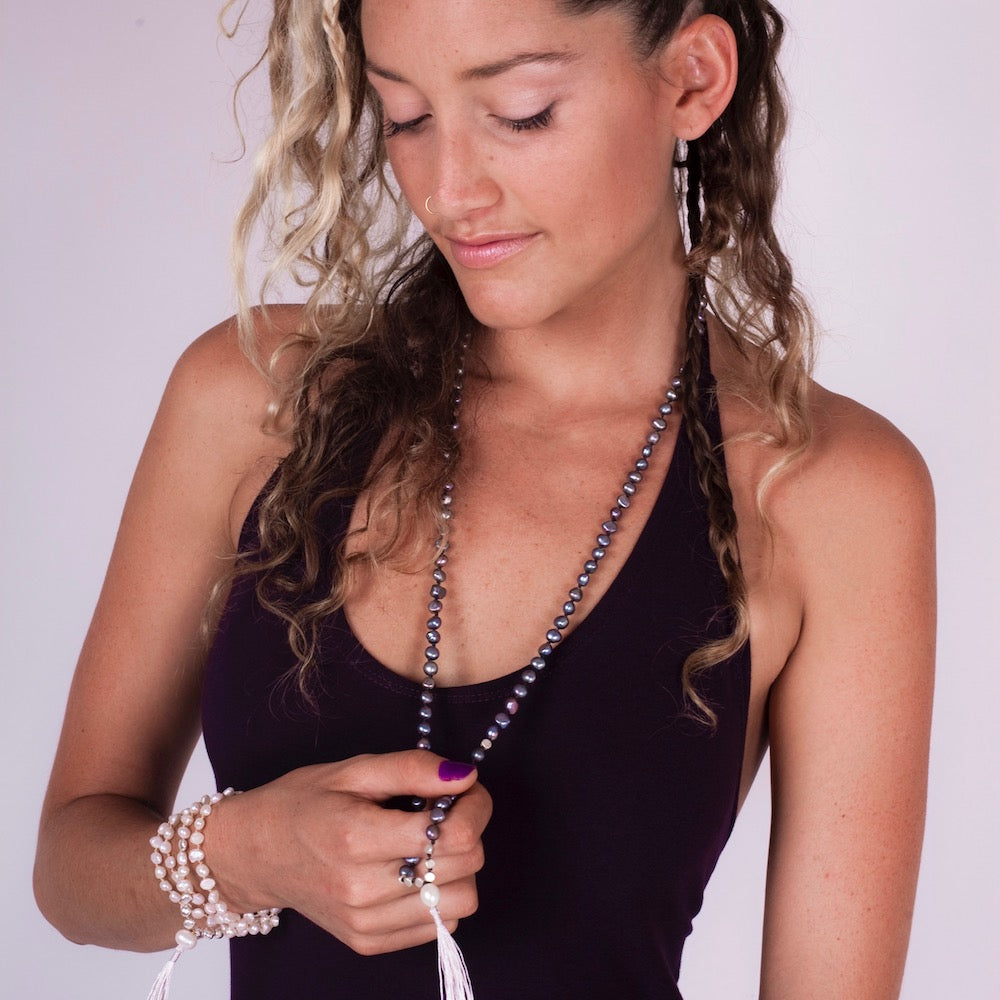 Mala beads yoga necklace handmade from Silver pearls