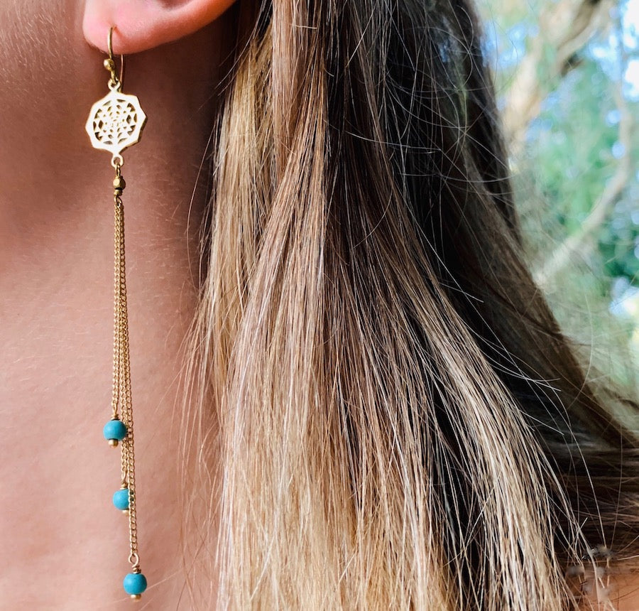 Sri Yantra Sacred Geometry Earrings brass chain & Turquoise