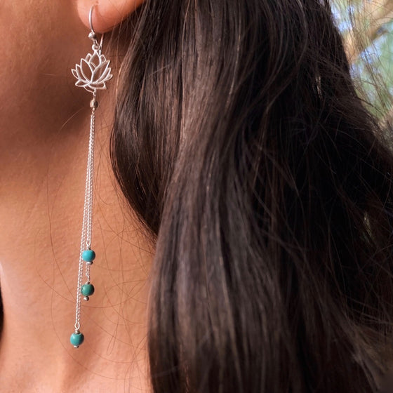 Lotus Earrings silver chain & Turquoise