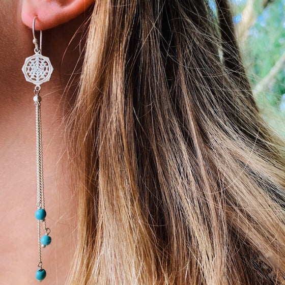 Sri Yantra Sacred Geometry Earrings silver chain & Turquoise