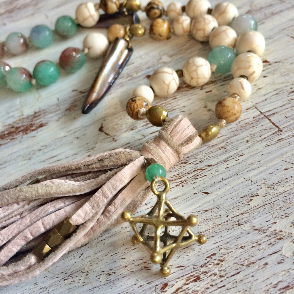 Merkaba sacred geometry Boho Mala Beads Yoga Necklace, Green Agate, Jasper, Howlite