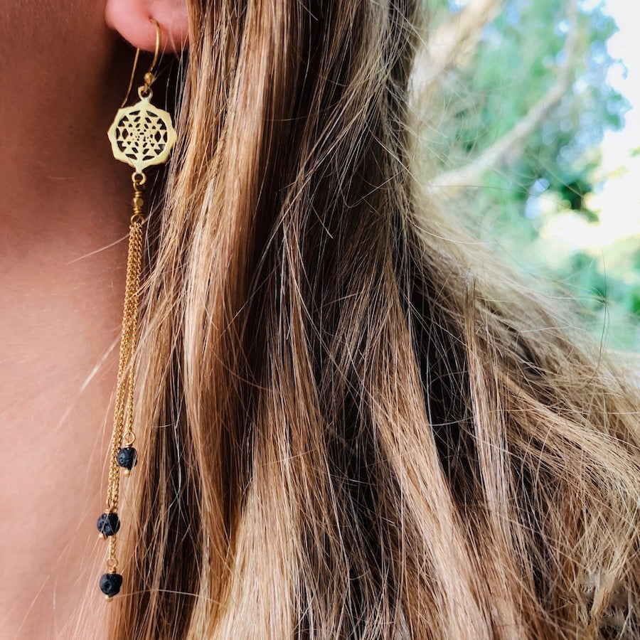 Sri Yantra Sacred Geometry Earrings brass chain & Lava Stone
