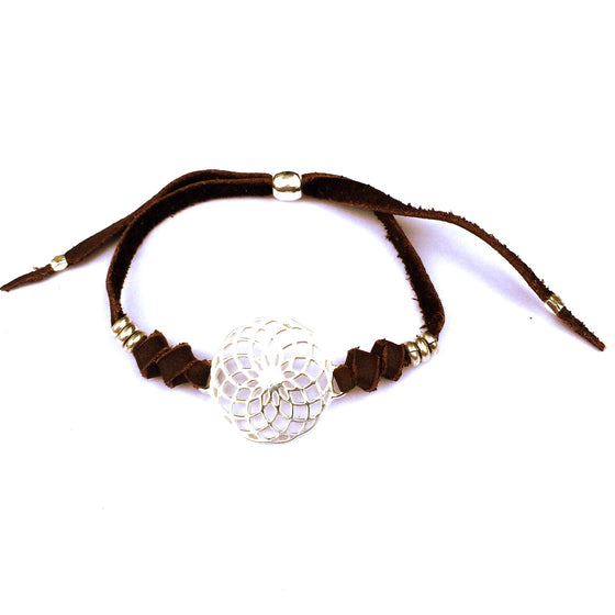 silver Sunflower Sacred Geometry charm bracelet on suede leather - Heart Mala