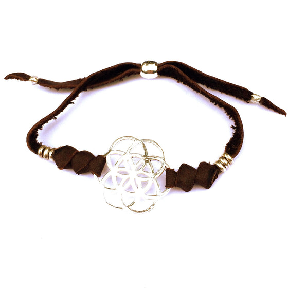 silver Seed Of Life sacred geometry charm bracelet on suede leather - Heart Mala
