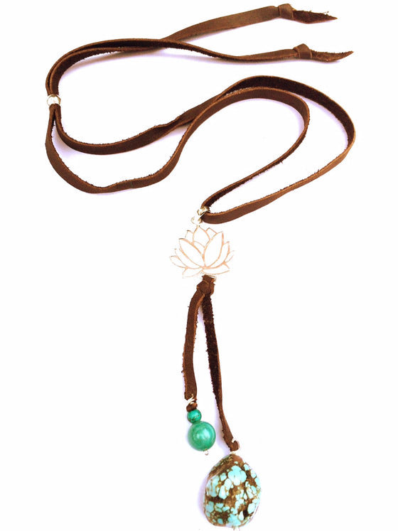 silver Lotus & Turquoise Boho Suede necklace - Heart Mala