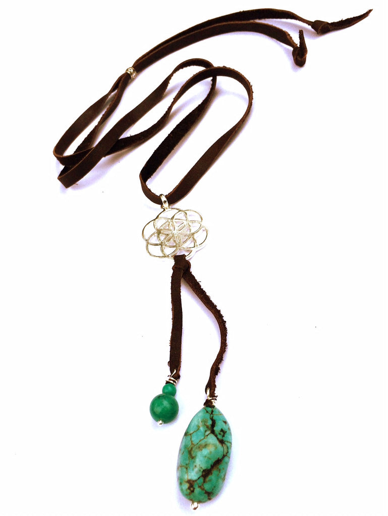 Silver Seed Of Life & Turquoise Boho Suede necklace - Heart Mala