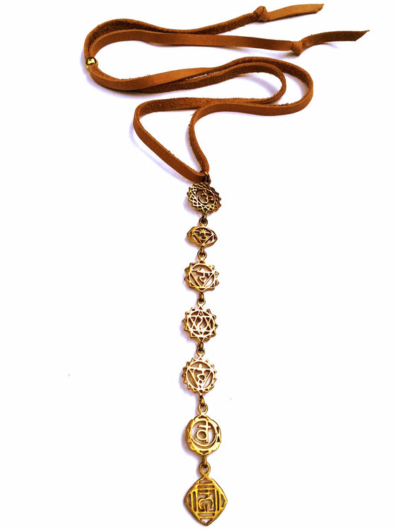 Brass Seven Chakra Symbol Pendants on Suede Leather - Heart Mala - 1