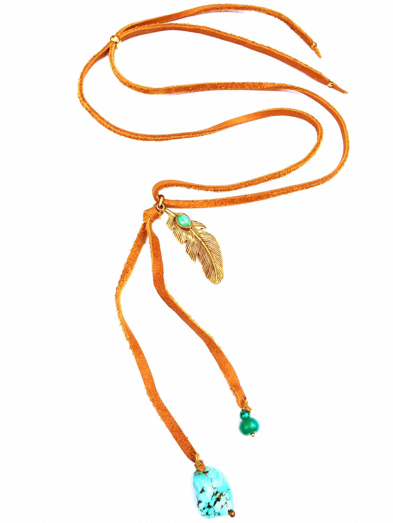 Brass Feather & Turquoise Boho Suede necklace - Heart Mala