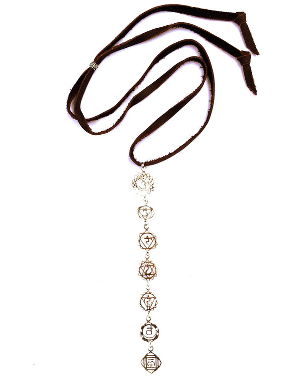Silver Seven Chakra Symbol Pendants on Suede Leather - Heart Mala - 1
