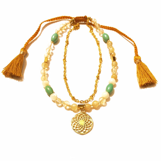 Sunflower Boho Anklet, turquoise, citrine, mother of pearl