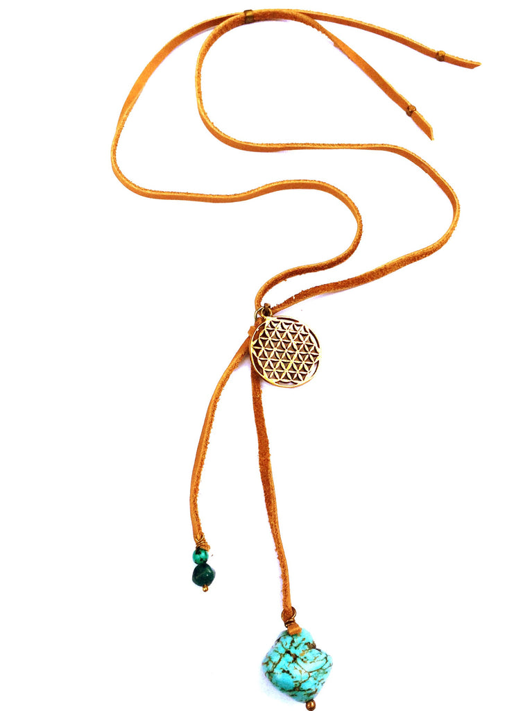 Brass Flower Of Life & Turquoise Boho Suede necklace - Heart Mala