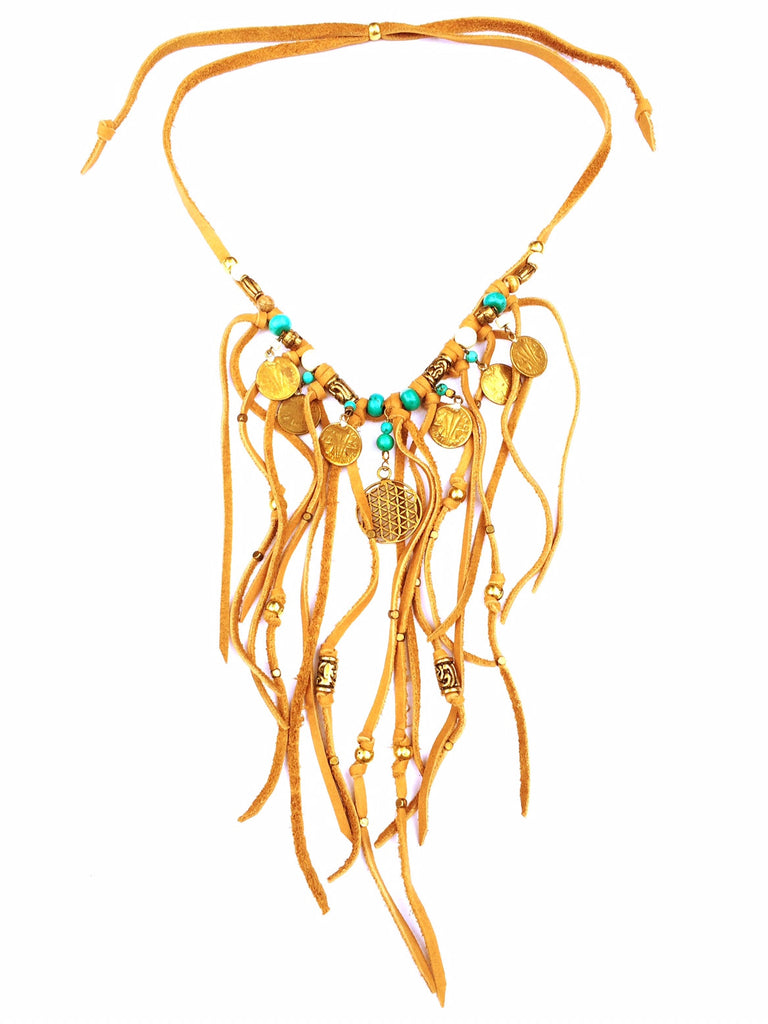Tribal Boho Jewellery Suede Fringe Flower Of Life Necklace with Turquoise