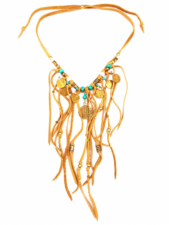 Tribal Boho Suede Fringe Necklace, Turquoise & Flower Of Life - Heart Mala - 1